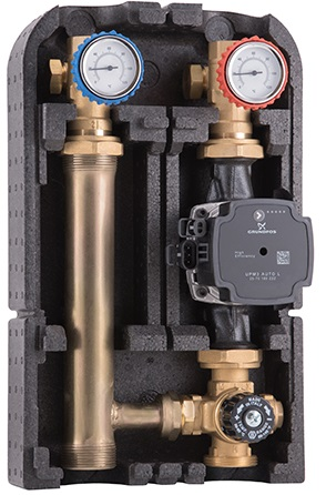 Насосная группа DN25 с термостат. смеш. клап. Kv 3,5 25-50 ° С с подключ. под байпас, без насоса