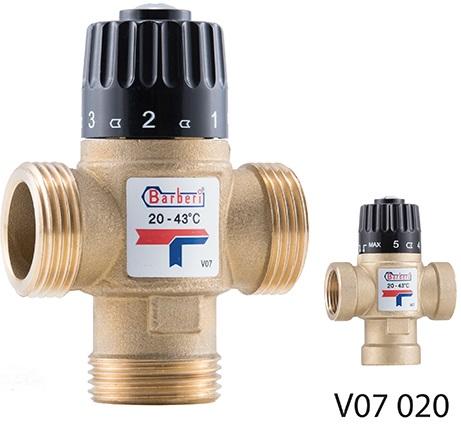 """Трехходовой термостатический смесительный клапан G 1 """"М, Kv 2,5, регулирования 20-43 °С"""
