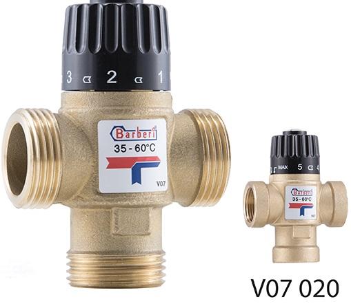 """Трехходовой термостатический смесительный клапан G 1 """"М, Kv 2,5, регулирования 35-60°С"""